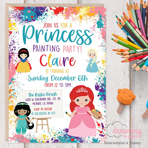 Princess Birthday, Princess Painting Party, Disney Princess Party, Art Party, Painting Birthday, Art Birthday