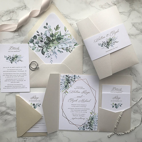 Greenery Gold Geometric Herbal Lisima Pocket Wedding Invitations 254