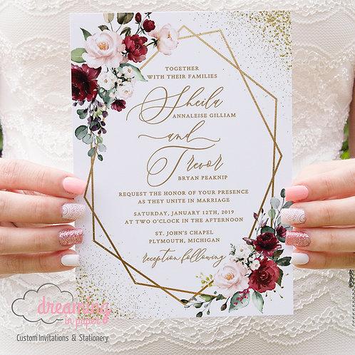 Gold Geometric Burgundy Lisima Confetti Wedding Invitations 296
