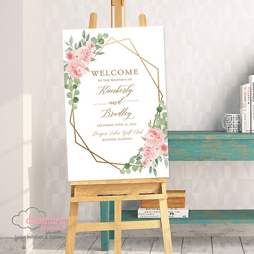 Blush and Eucalyptus Geometric Wedding Welcome Sign 212