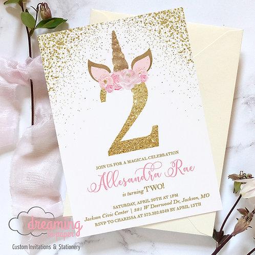 Unicorn Birthday, Pink Gold Unicorn, Gold Unicorn Birthday, Unicorn Invite, Unicorn Invitation, Gold Glitter Unicorn