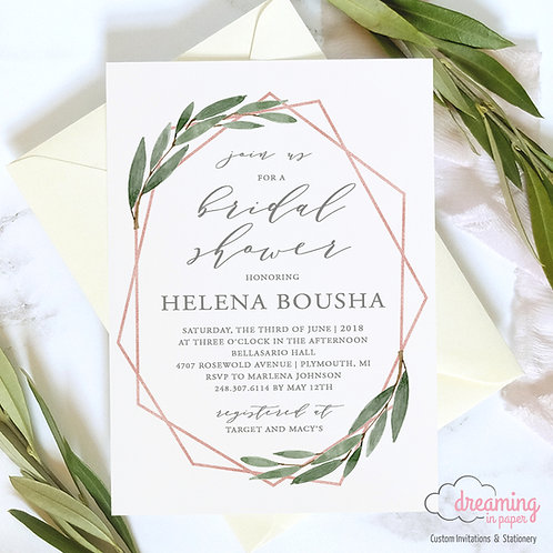 Geometric Rose Gold Greenery Bridal Wedding Shower Invitation