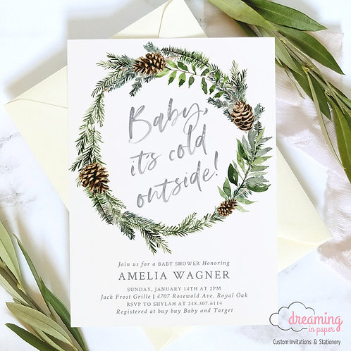 Baby It's Cold Outside Pine Cone Wreath Baby Shower Invitations