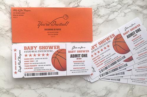Basketball Game Ticket Baby Shower Invitations Die Cut