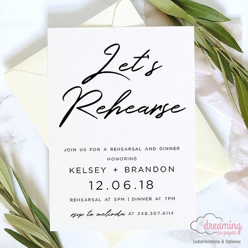 Holland Let's Rehearse Rehearsal Dinner Invitation