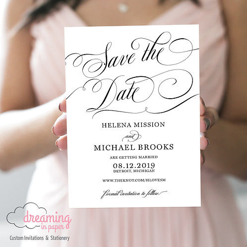 Gorgeous Scroll Script Save the Dates
