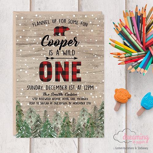 Wild One Buffalo Plaid Bear Pine Trees Birthday Invitation