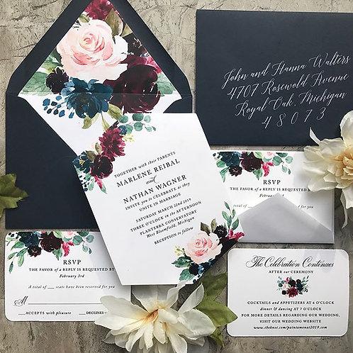 Navy Burgundy Blush Hexagon Wedding Invitations 151