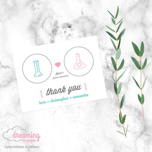 card thank you chemistry bridal shower pink blue bridal
