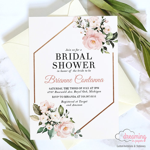 Blush Floral Copper Hexagon Bridal Shower Invitations