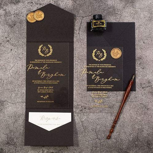 Clear Acrylic Gold Screen Print Pocket Invitations with Black Pocket