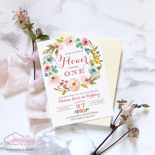 Our Little Flower Floral Wreath Birthday Invitation