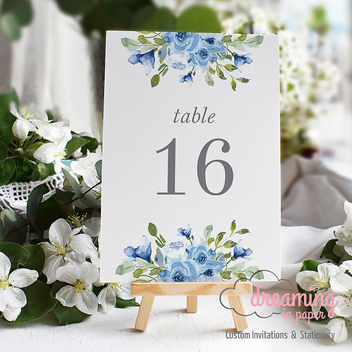 Dusty Light Blue Floral Drop Table Numbers