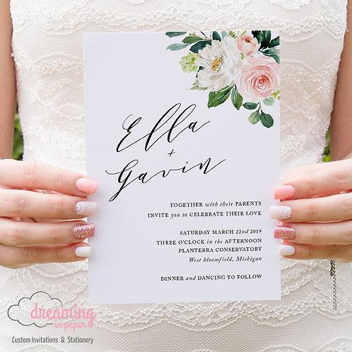 Blush and Greenery Simple and Elegant Wedding Invitations