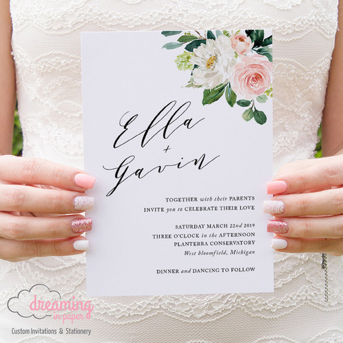 Blush And Greenery Simple And Elegant Wedding Invitations