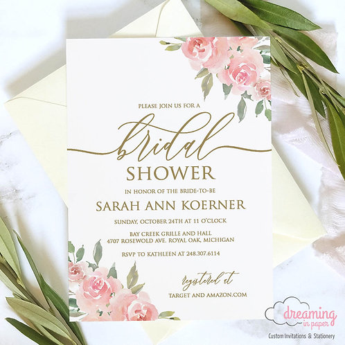 Pink Roses and Greenery Bridal Shower Invitation - Boutin