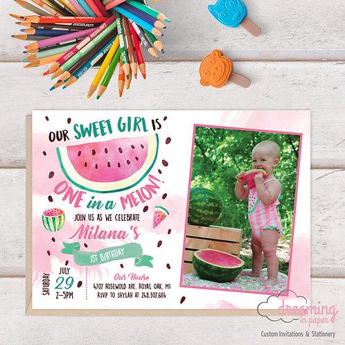 One in a Melon Watermelon Photo Birthday Invitation