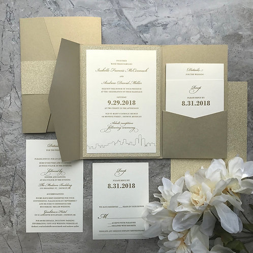 Glittering Gold Pocket Invitation Set