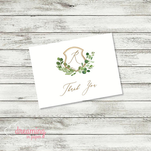 Gold and Greenery Wedding Crest Thank You Card