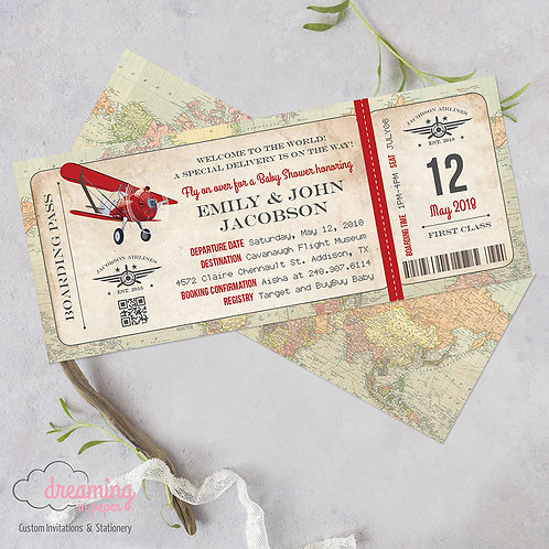 Red Airplane Vintage Boarding Pass Baby Shower Invitation