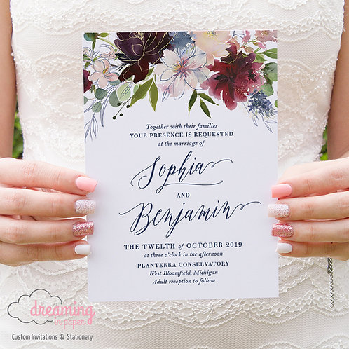 Navy Burgundy Top Floral Boho Fitri Wedding Invitation