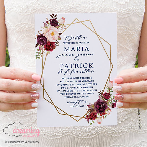 Boho Geometric Navy Burgundy Gold Floral Wedding Invitation