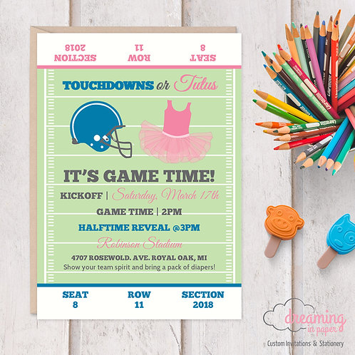 Touchdowns or Tutus Football Gender Reveal Party Invitation