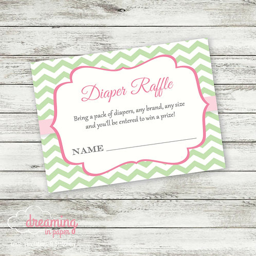 Diaper Raffle Ticket - Coordinates with Tutu Chevron Baby Shower