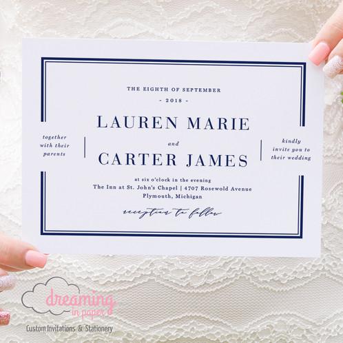 Classic Double Border Wedding Invitation