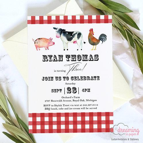 BBQ Picnic Farm Animals Birthday Invitation