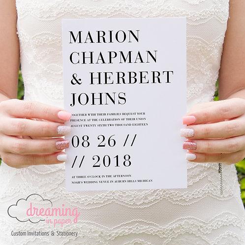 Bauer Modern Design / Typography Wedding Invitation Set