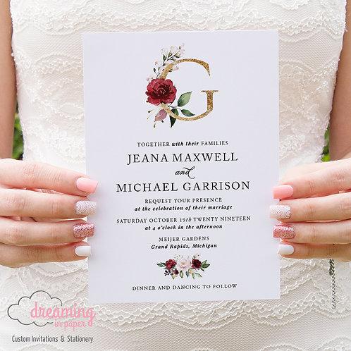Bursting Burgundy Blush Gold Monogram Wedding Invitations 242