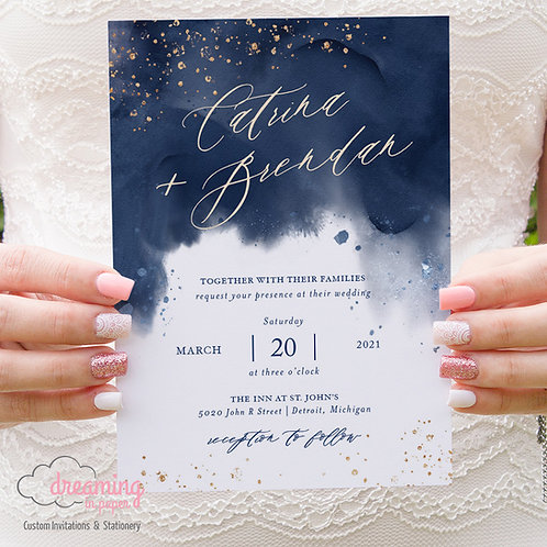 Celestial Navy and Gold Watercolor Wedding Invitations 371