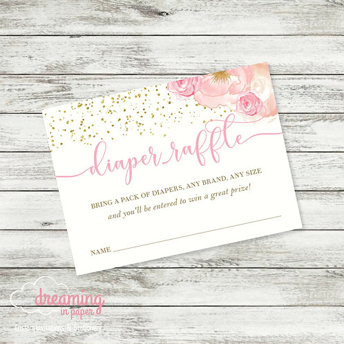 Diaper Raffle Card - Coordinates with Tutu Excited Baby Shower