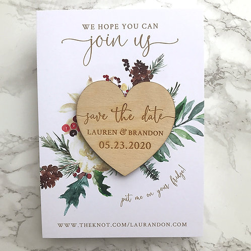 Magnet Wood Heart Save the Dates - Christmas Poinsettia