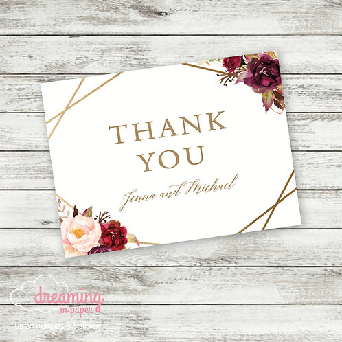 Boho Marsala Geometric Thank You Cards