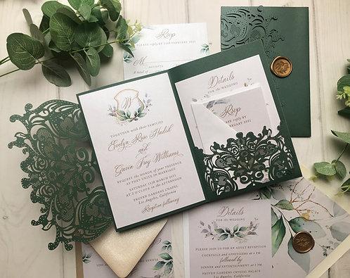 Emerald Green Shimmer Lasercut Pocket Wedding Invitations  417