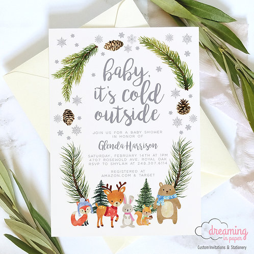 Baby It's Cold Outside Woodland Animals Wreath Baby Shower Invitations