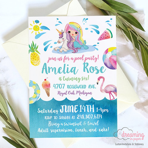 Rainbow Mermaid and Unicorn Pool Party Birthday Invitation
