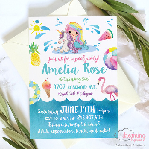 Rainbow mermaid and unicorn pool party birthday invitation birthday invitation mermaid unicorn girl child pool party pink filmwisefo