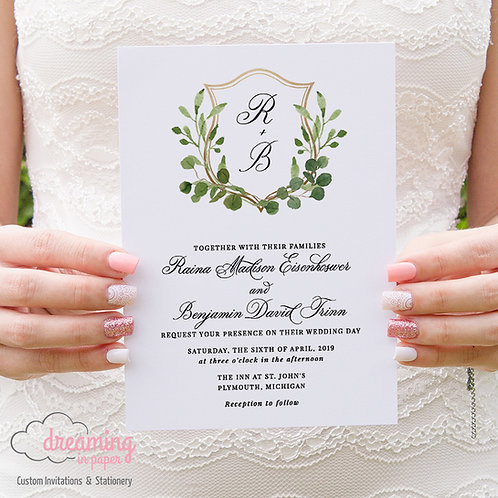 Greenery and Gold Watercolor Wedding Crest Monogram Wedding Invitations