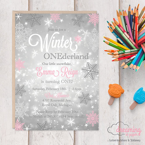 Silvery Snow Winter ONEderland Birthday Invitation - Chalkboard and Snow