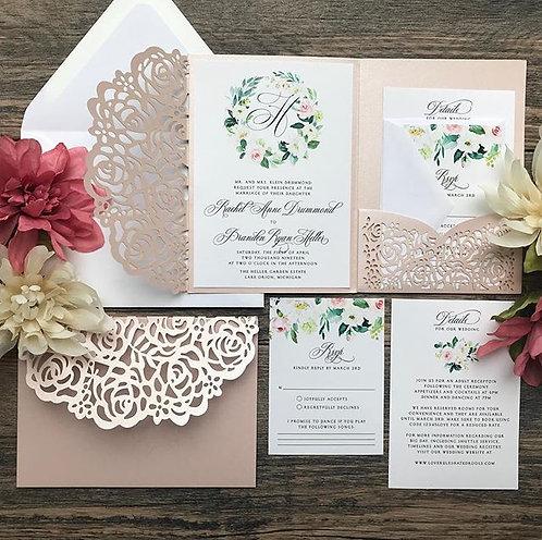 Shimmering Blush and Floral Laser Cut Pocket Wedding Invitations