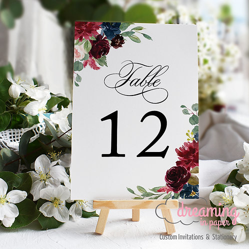 Burgundy and Navy Floral Table Numbers
