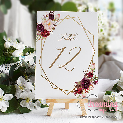 Boho Marsala Geometric Table Numbers