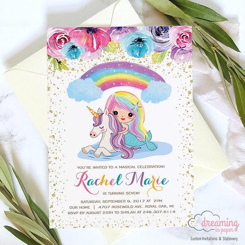 Mermaid and Unicorn Rainbow Flowers Pool Party Birthday Invitations