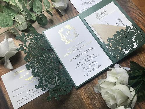 Emerald Lasercut, Emerald Laser Cut, Emerald Wedding Invite, Emerald Green, Foil Printing