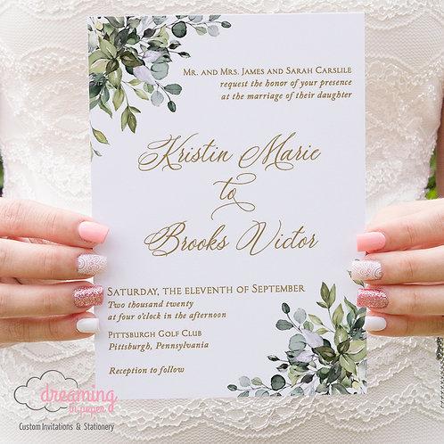 Bursting Corner Greenery Lisima Wedding Invitations 366