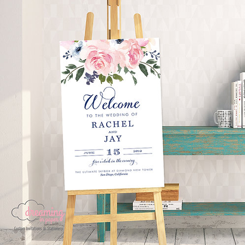 Blush Navy Floral Welcome Sign