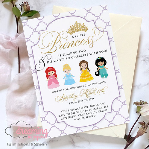 Princess Disney Inspired Birthday Invitation